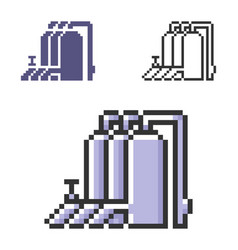 Pixel icon gas-distribution station in three vector