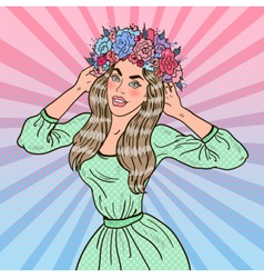 Pop Art Beautiful Woman in Love with Flower Wreath vector
