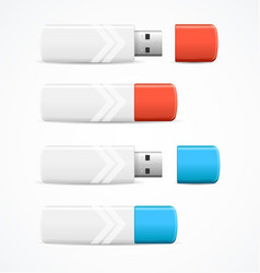 Realistic 3d detailed usb flash drive set vector