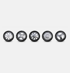 Realistic tires set truck wheels isolated on vector