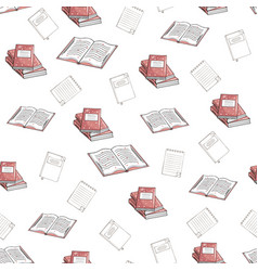 seamless pattern books and notebooks on a vector image