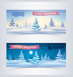 seasonal festive horizontal banners vector image