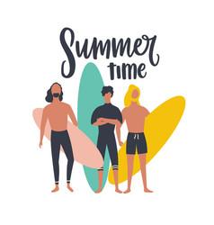 seasonal postcard template with group male vector image