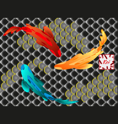 set of fish carp koi vector image