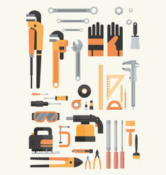 set of repair and construction working hand tools vector image