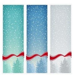 Set of Vertical Banners with Snowfall vector