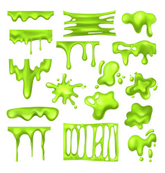 Set radioactive green slime or toxic blob vector