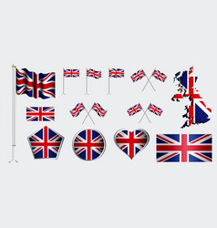 set united kingdom flag clip art vector image