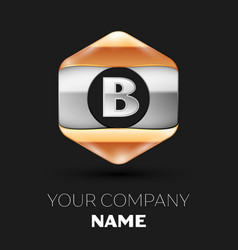 Silver letter b logo in silver-golden hexagonal vector