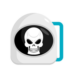 skull in helmet astronaut cosmonaut cap and head vector image