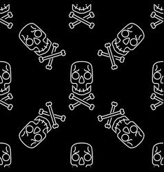 skull seamless pattern on black halloween white vector image