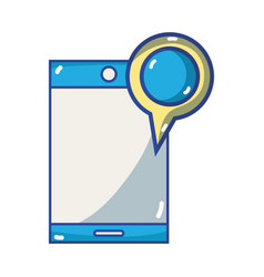 smartphone technology with magnifying glass vector image