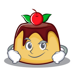 Smirking pudding character cartoon style vector
