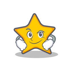 smirking star character cartoon style vector image