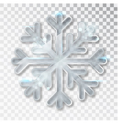snowflake transparent with shadow isolated on vector image