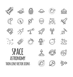 space astronomy outline icons set vector image