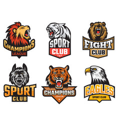 Sport emblem pack wild animals stylized picture vector