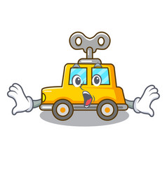 Surprised cartoon clockwork toy car for gift vector