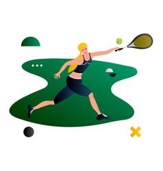 tennis cartoon flat tennis player female vector image