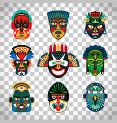 Tribal indian or african colorful masks vector