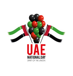 Uae flags and balloons to celebrate national day vector