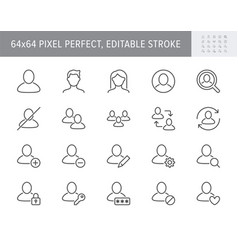 Users line icons include icon vector