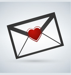 valentines day love letter flat icon with long vector image