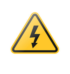 yellow high voltage warning sign vector image