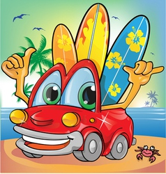 car holyday on summer background vector image vector image