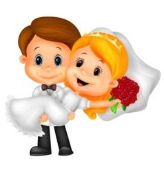 Kids cartoon Playing Bride and Groom vector image