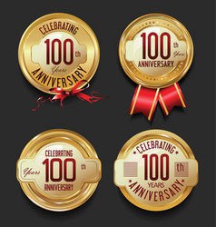 anniversary retro golden labels collection 100 vector image vector image