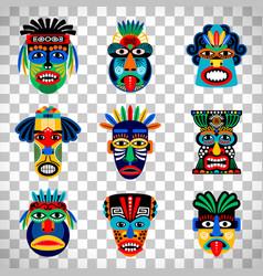 aztec mask set on transparent background vector image