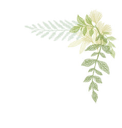 floral hand drawing green leaf composition vector image vector image