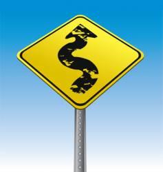 grunge arrow traffic sign vector image vector image