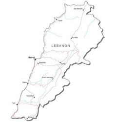 Lebanon Black White Map vector image