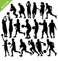 Men play basketball silhouettes vector image vector image