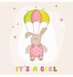 Baby Bunny with Parachute - Baby Shower Card vector image