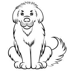 big fluffy dog contour vector image