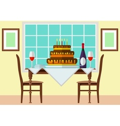 Cake and wine on festive table vector