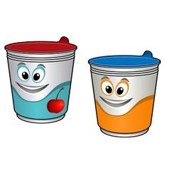 Cartoon cherry yoghurt vector image