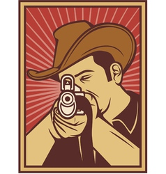 Cowboy shooting a rifle vector image vector image