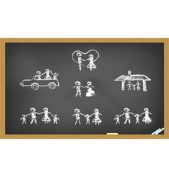 doodle happy family on blackboard vector image vector image