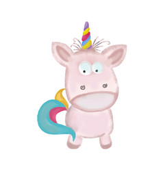 doodle watercolor hand drawn unicorn isolated on vector image
