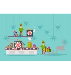 Elf factory or elves workshop toy production line vector image vector image