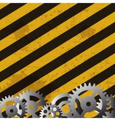 Grunge striped cunstruction background and gears vector image vector image