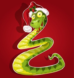New Year Snake on red background vector image vector image