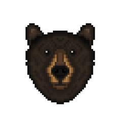 bear head in pixel art style vector image vector image