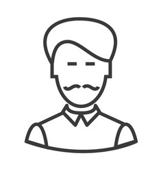 businesman with moustache line icon sign vector image vector image