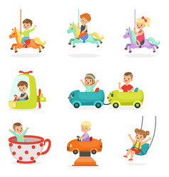 children having fun in an amusement park set for vector image