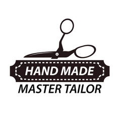 hand made master tailor logotype design with vector image vector image